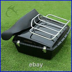 10.7 Chopped Pack Trunk Backrest + Rack For Harley Tour Pak Road King 1997-2013