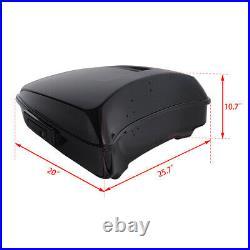Black Chopped Pack Trunk Backrest + Rack For Harley Tour Pak Street Glide 14-20