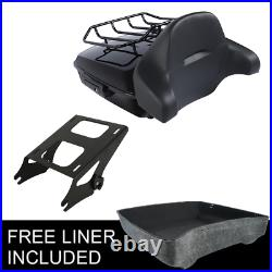 Black Chopped Pack Trunk Pad Rack For Harley Tour Pak Electra Road Glide 14-20