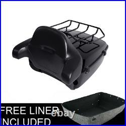King Pack Trunk Backrest Rack Black Set For Harley Tour Pak Touring Models 14-20