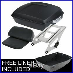 Matte Black Chopped Trunk Backrest +Rack For Harley Touring Tour Pak Pack 14-20