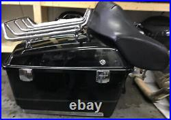 OEM Harley FLTHC Tour Pak Pack Luggage Box 97-08 Vivid Black with Silver Pins