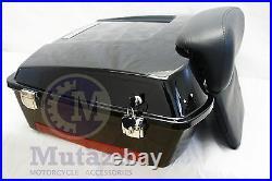 Vivid Black Chopped Tour Pak Trunk with Chopped Backrest for HD Harley Davidson